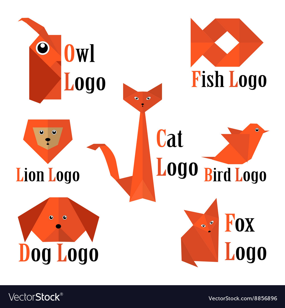 Trendy animals logo in origami style
