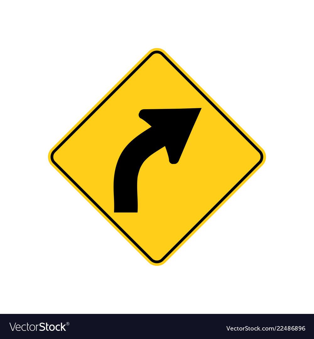 Usa traffic road signwarning a right curve