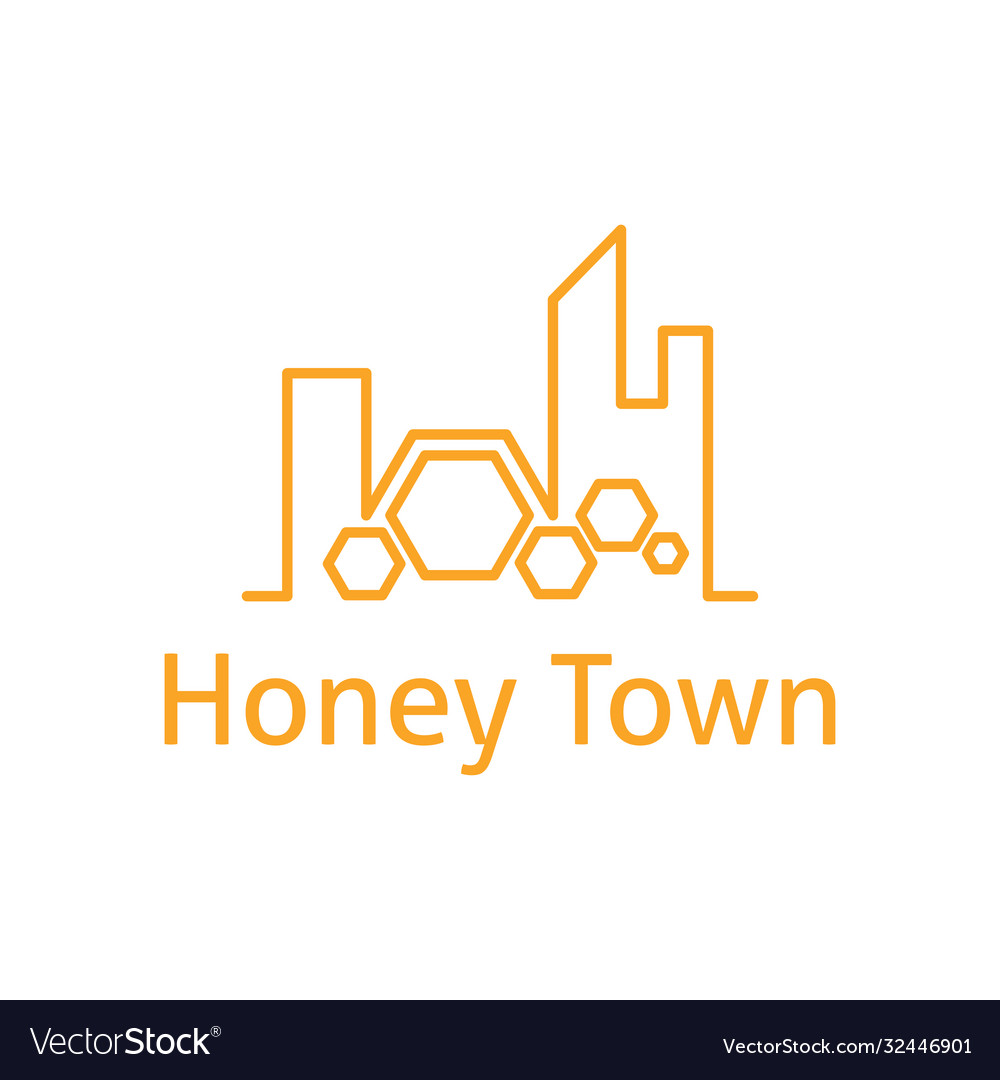 Abstract logo template town with honeycombs