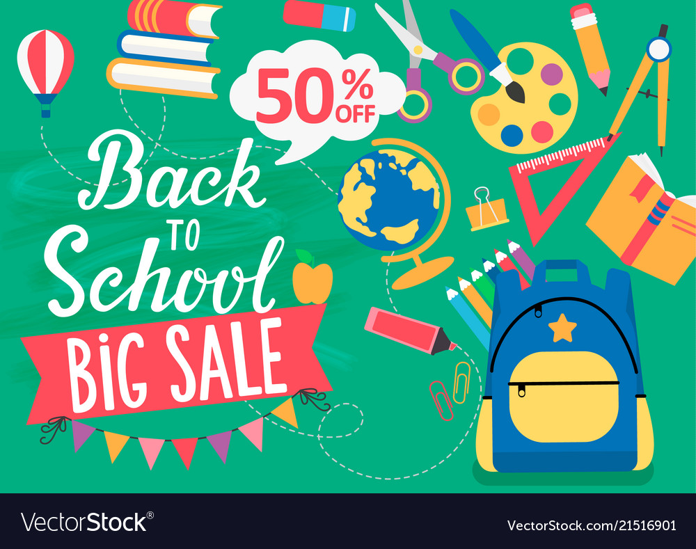 Banner back to school big sale 50 percent off
