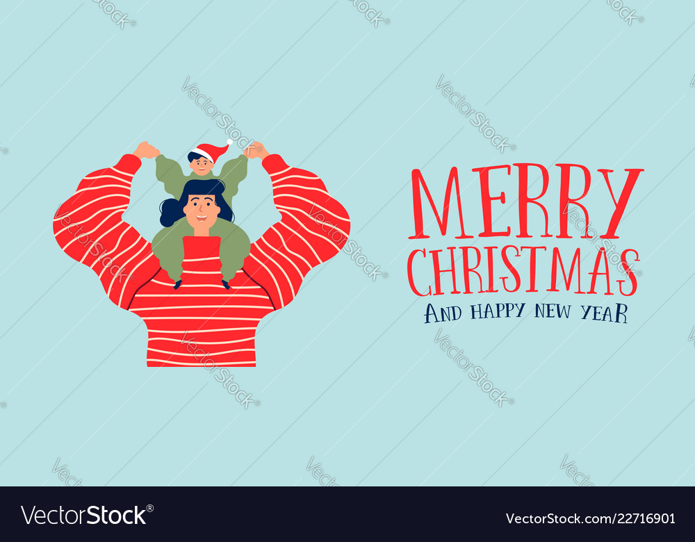 Christmas and new year banner of mom with son