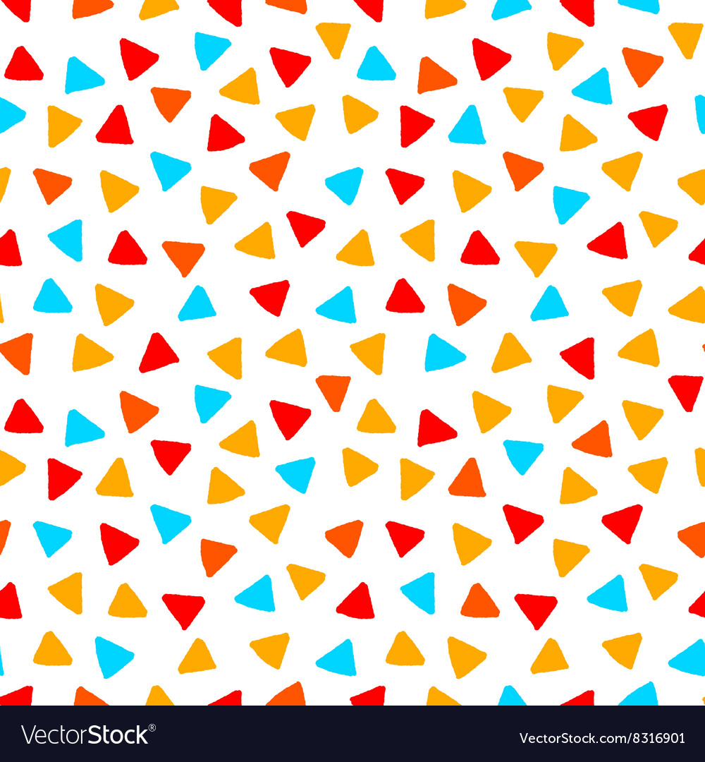 Colorful red orange yellow blue triangles hand