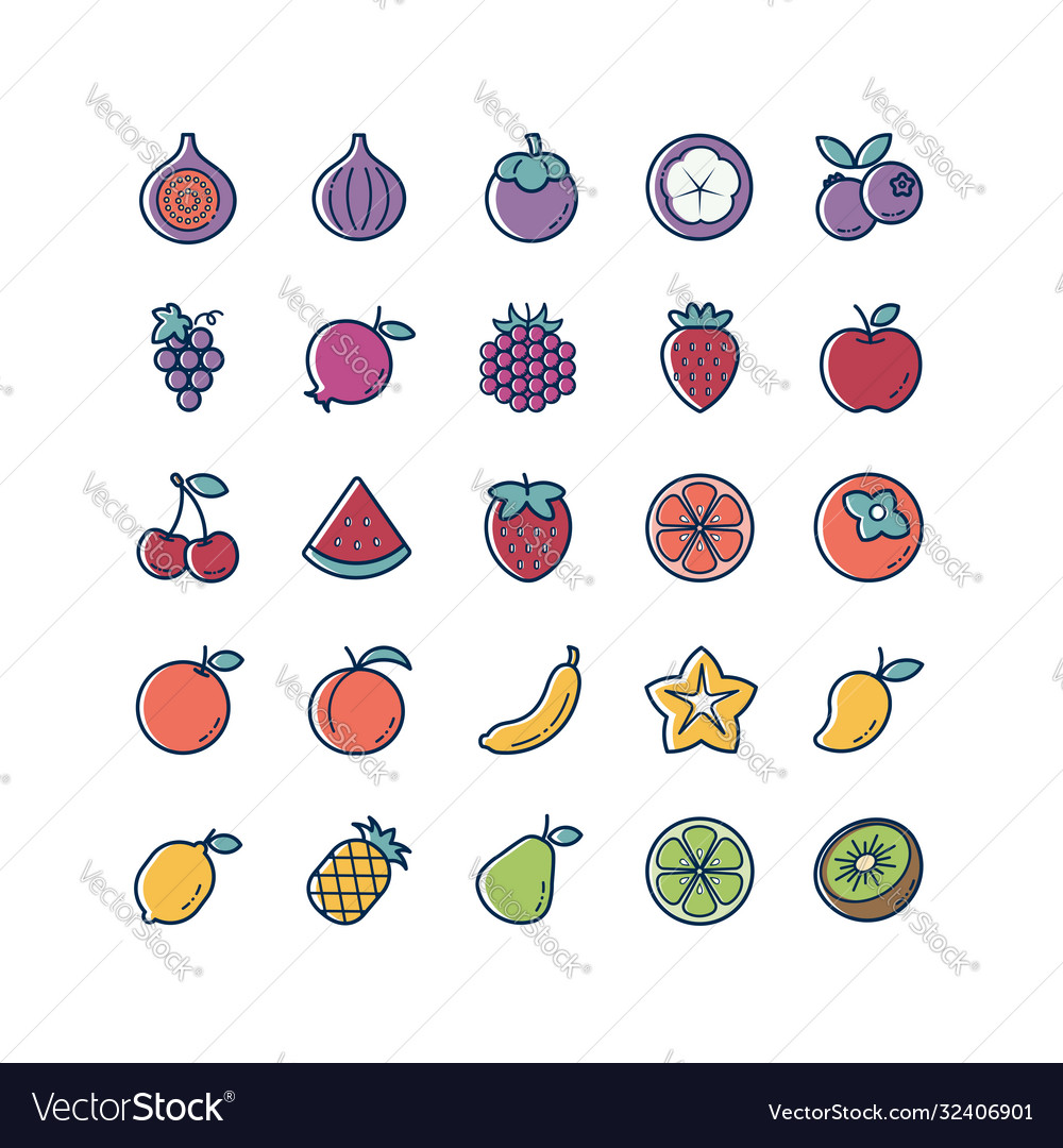 Fruit thin line and color icons set