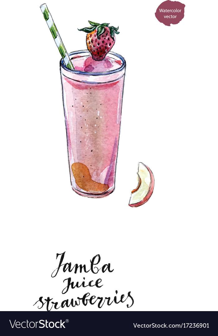 Glass of jamba juice strawberries watercolor