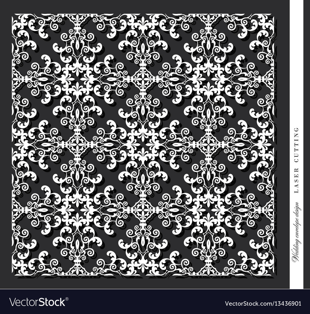 Laser cut decorative panel damask for printing