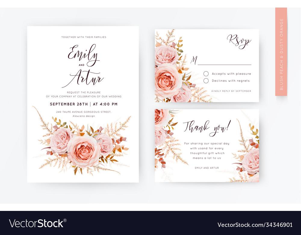 Lelegant wedding invite rsvp thank you card set