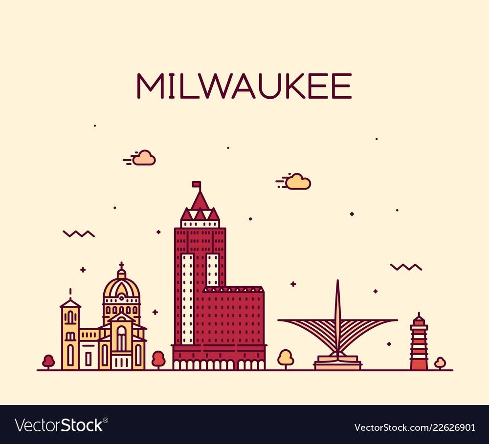 Milwaukee skyline wisconsin usa linear city