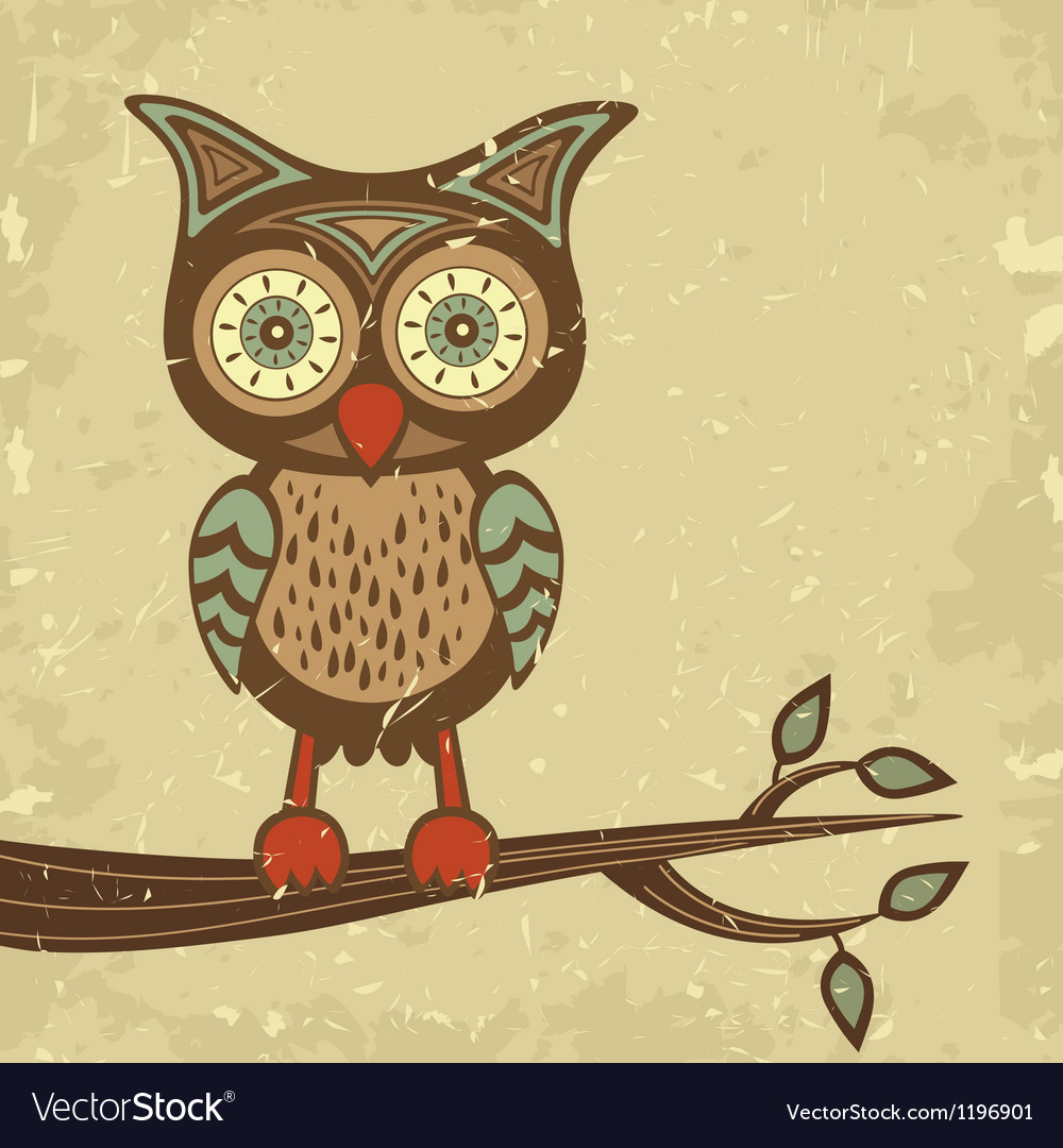 Retro style owl