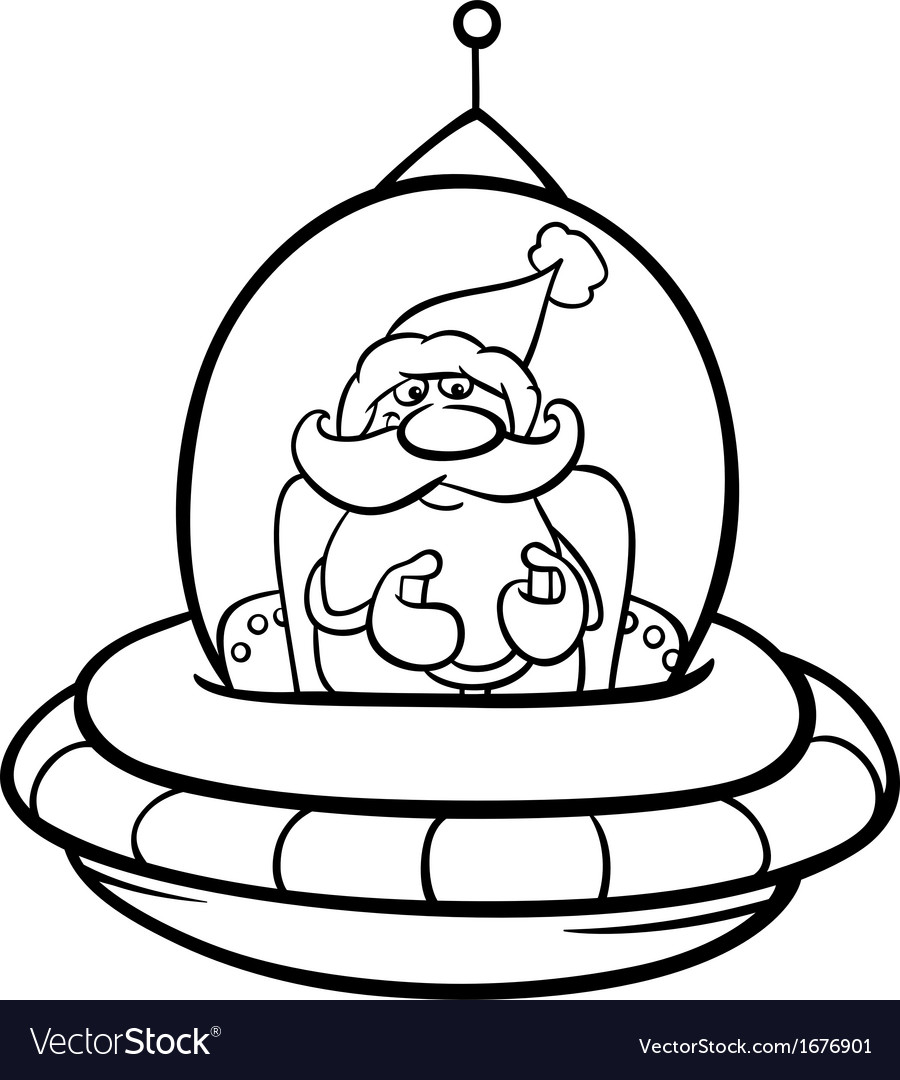 Santa in spaceship coloring page