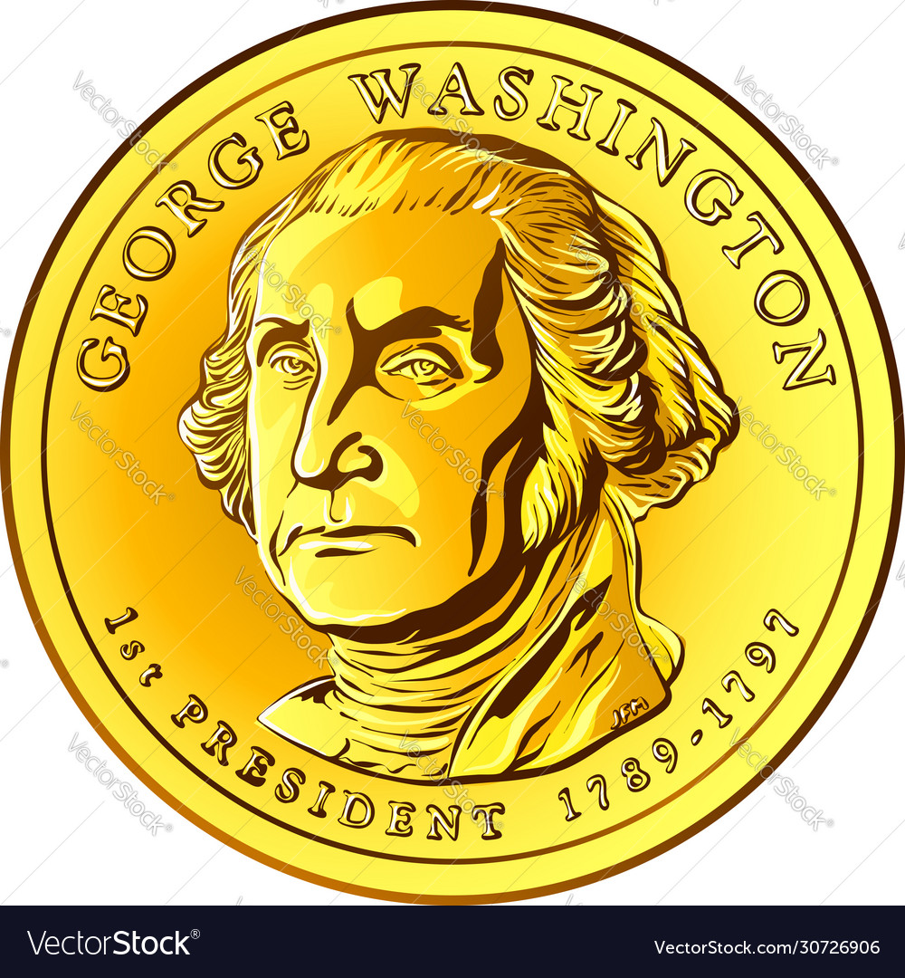 Gold Coin One Dollar Royalty Free Vector