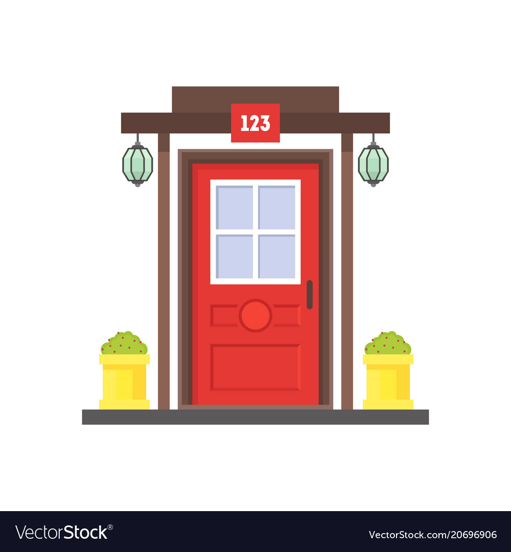 Cartoon Red Front Door Of House Royalty Free Vector Image
