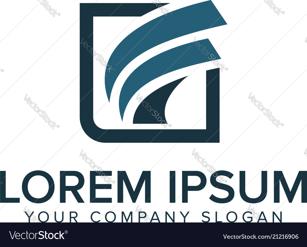 Letter F Logo Square Shape Design Concept Template Vector Image
