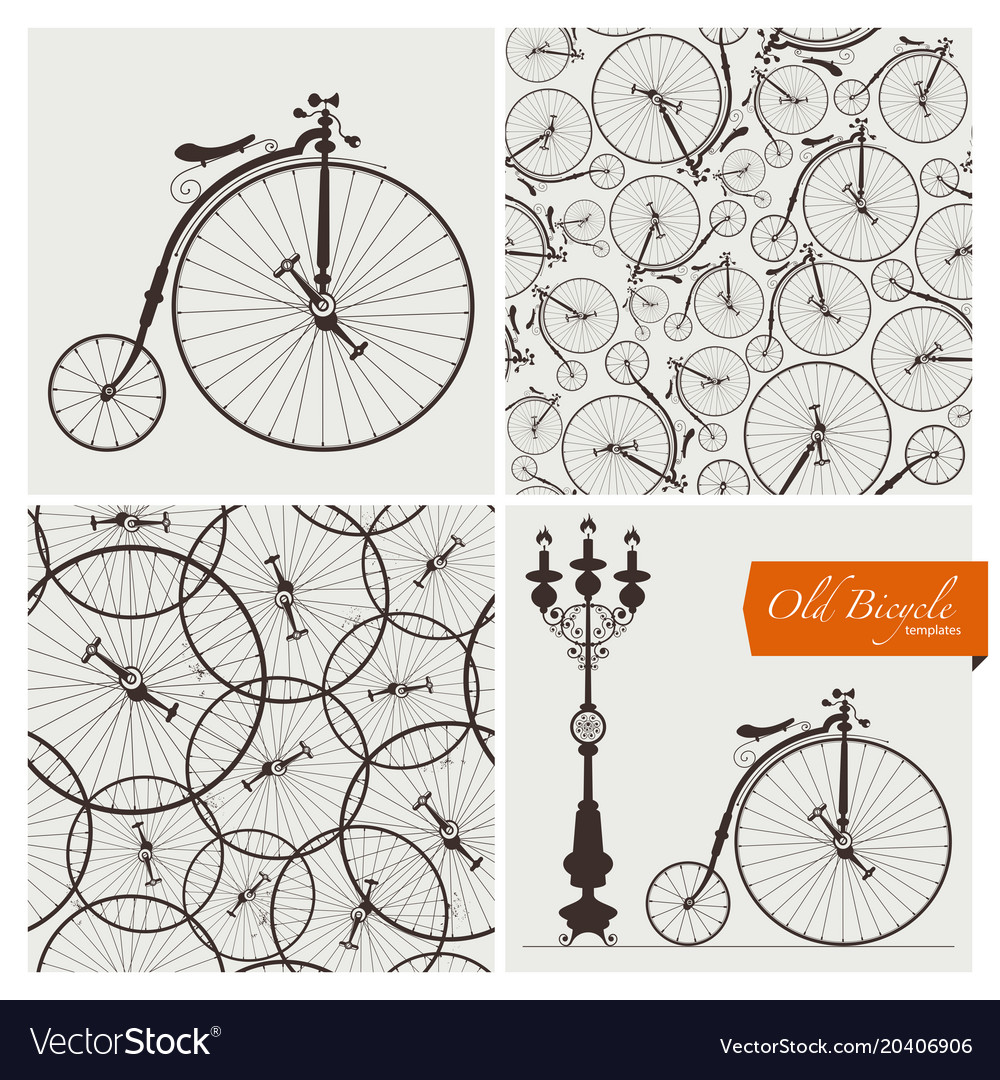 Old bicycle templates and seamless patterns