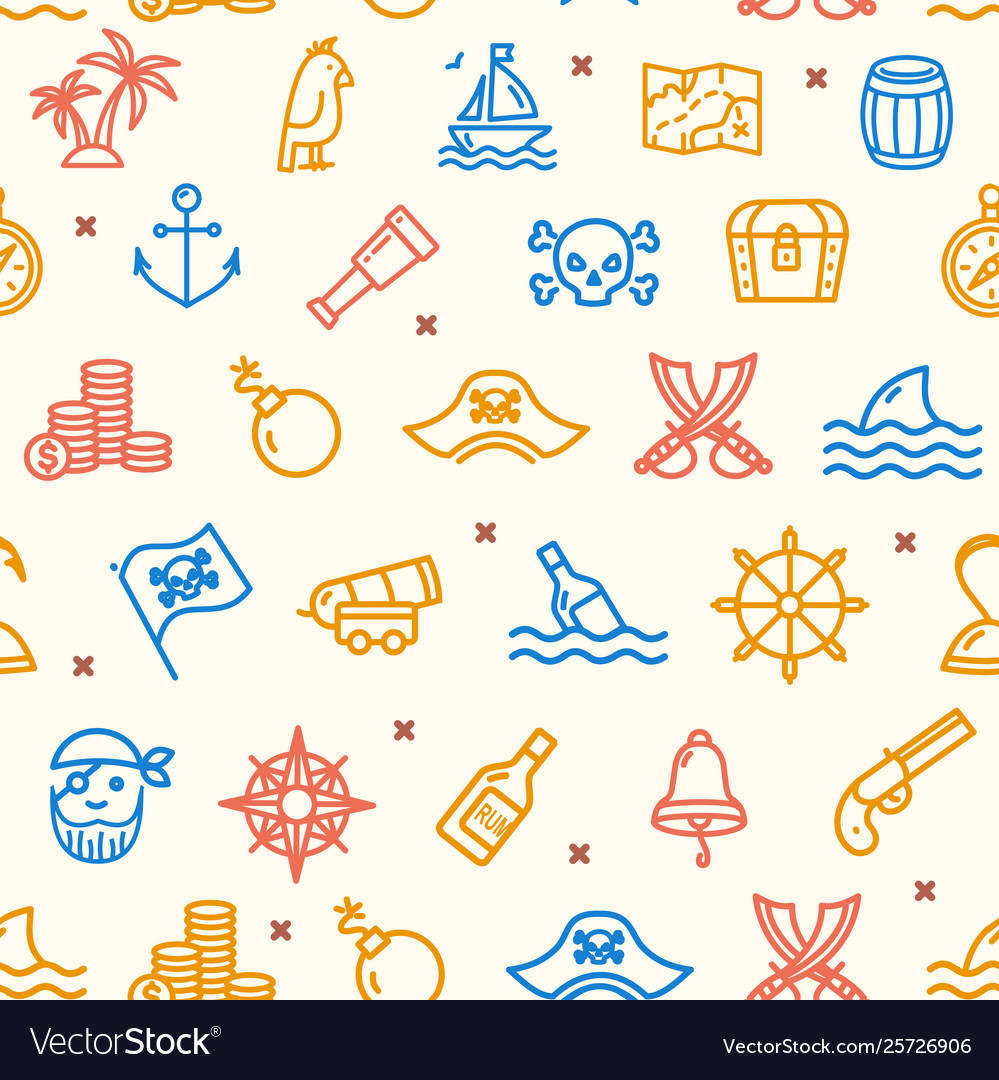 Pirate signs seamless pattern background on a