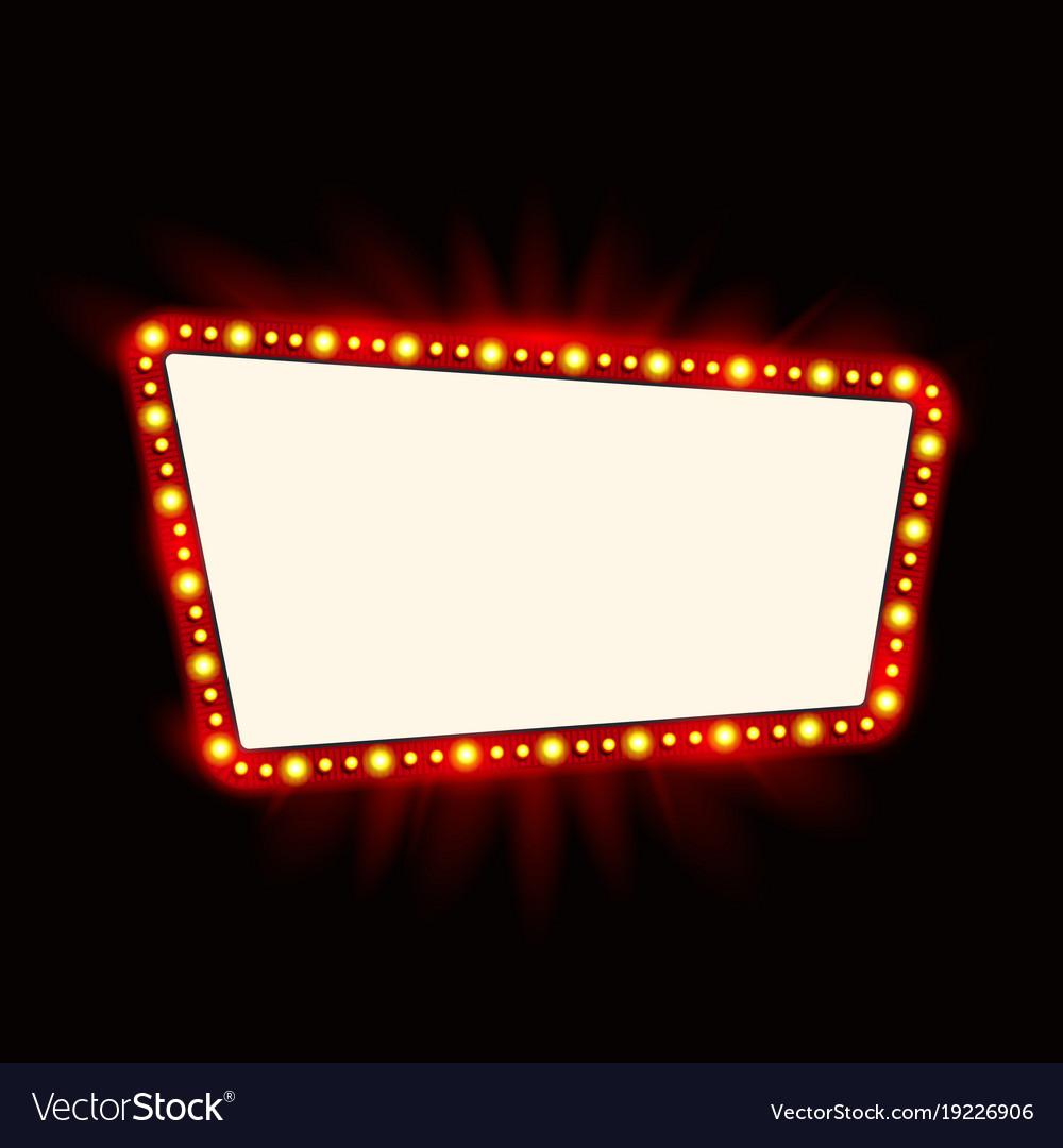Retro showtime sign design neon lamps billboard vector image
