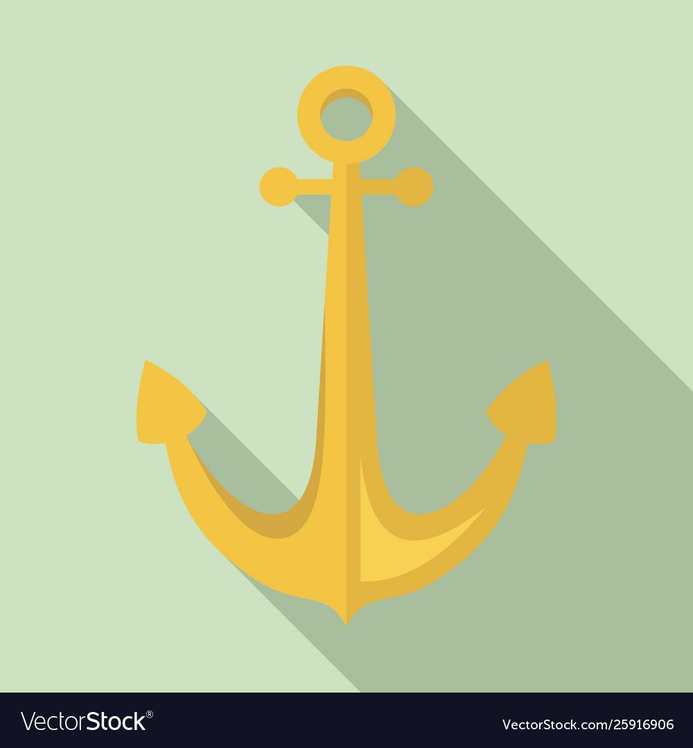 Sailor anchor icon flat style