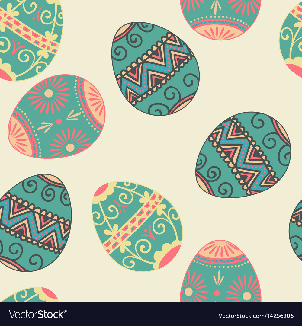 Seamless easter eggs pattern element