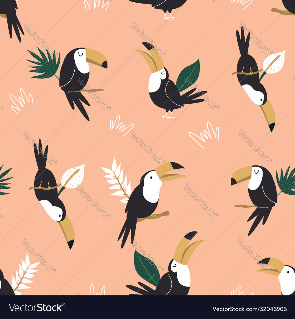 Seamless pattern with tropical toucan birds and