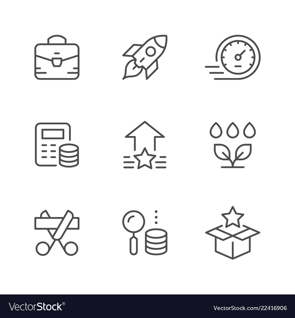 Set line icons of start up