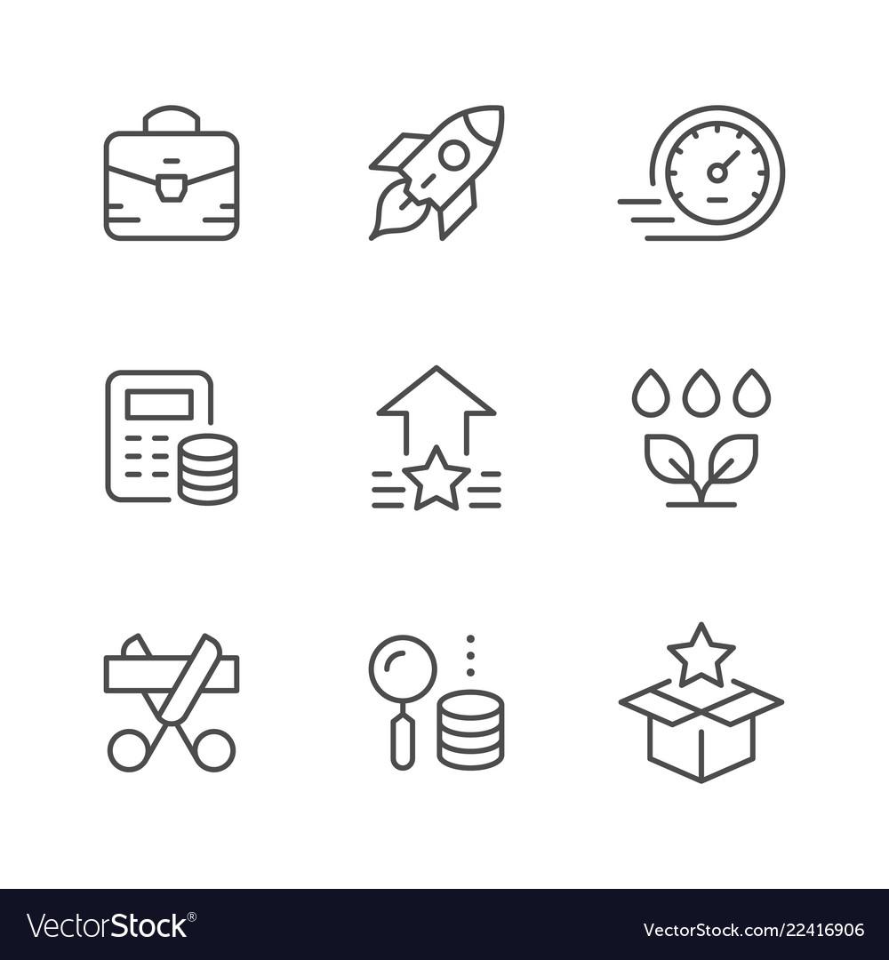 Set line icons start up