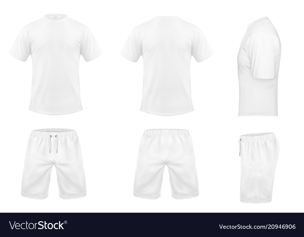 Set of white sport t-shirts and shorts