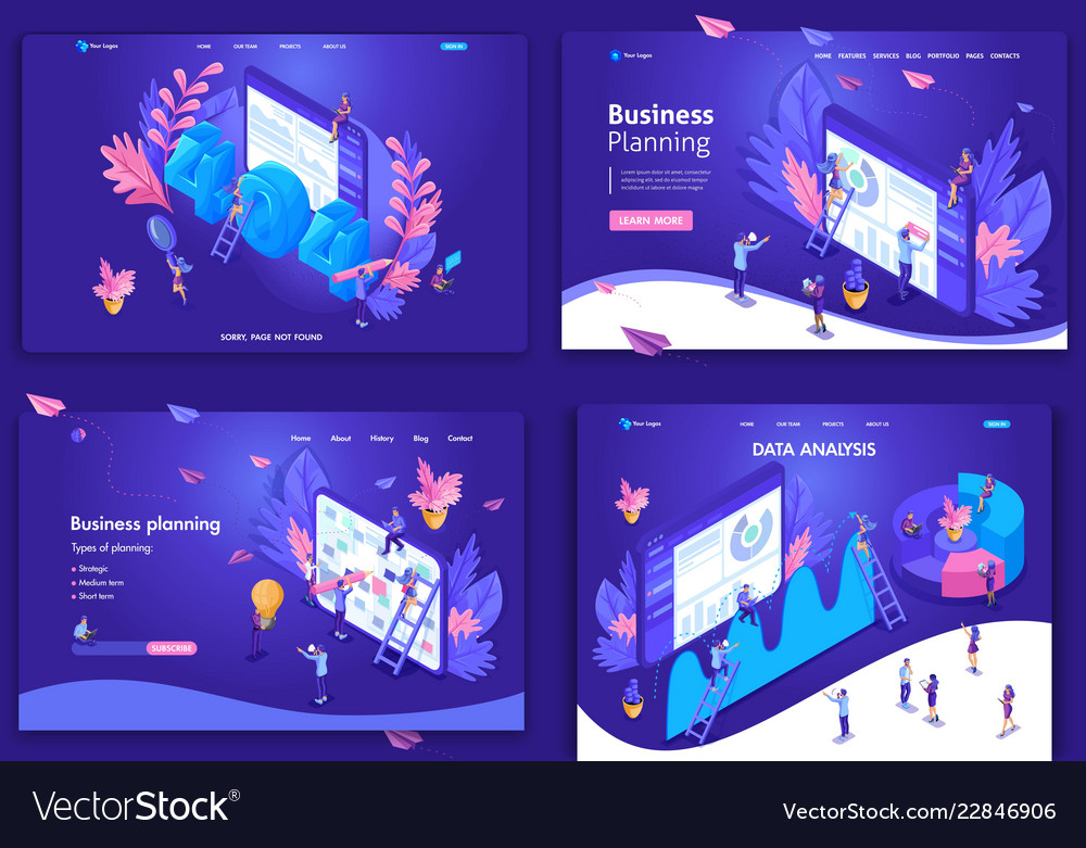 Set web page design templates for website
