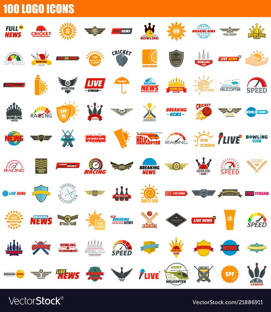 100 logo icon set flat style