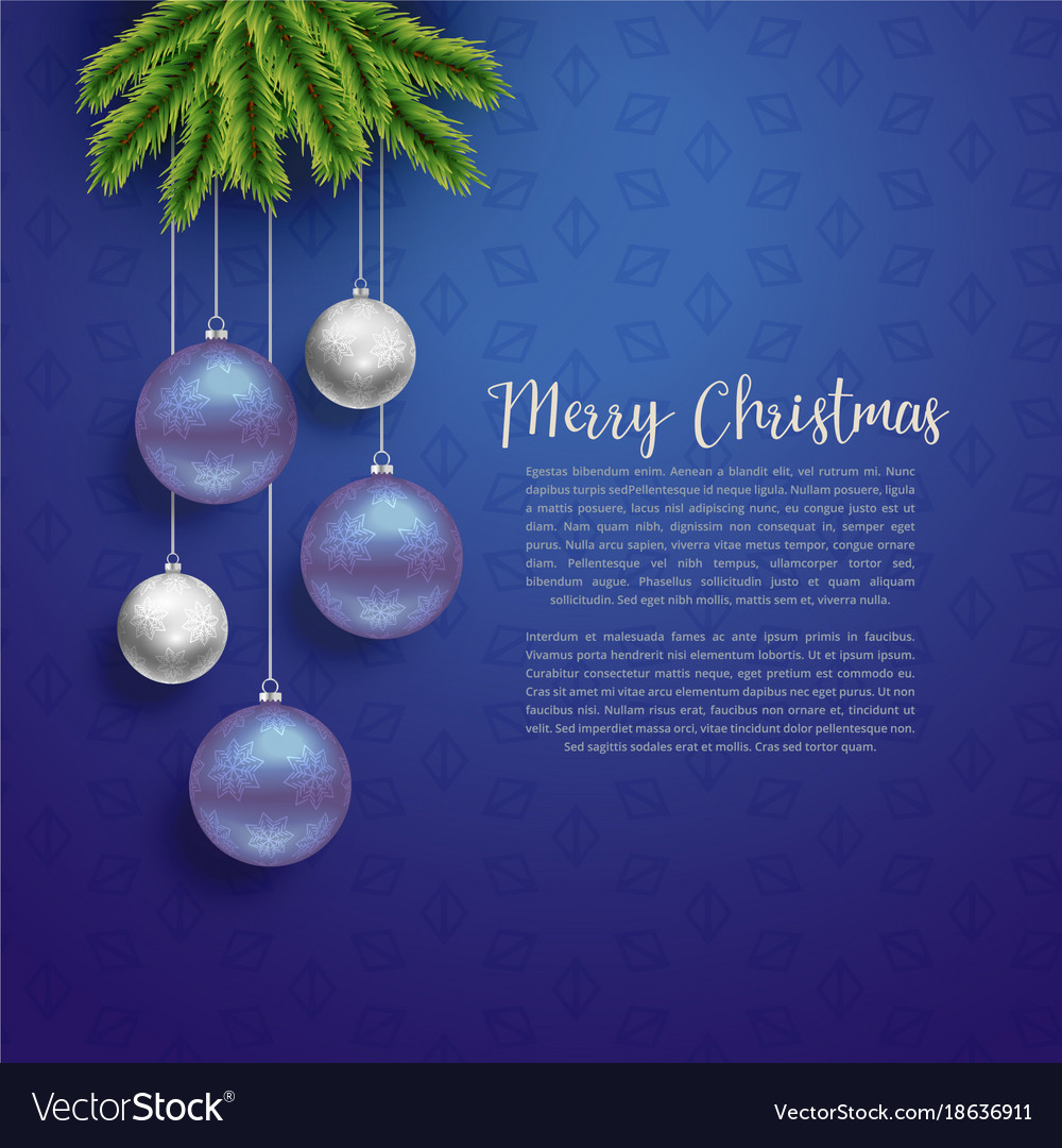Christmas greeting design with hanging balls