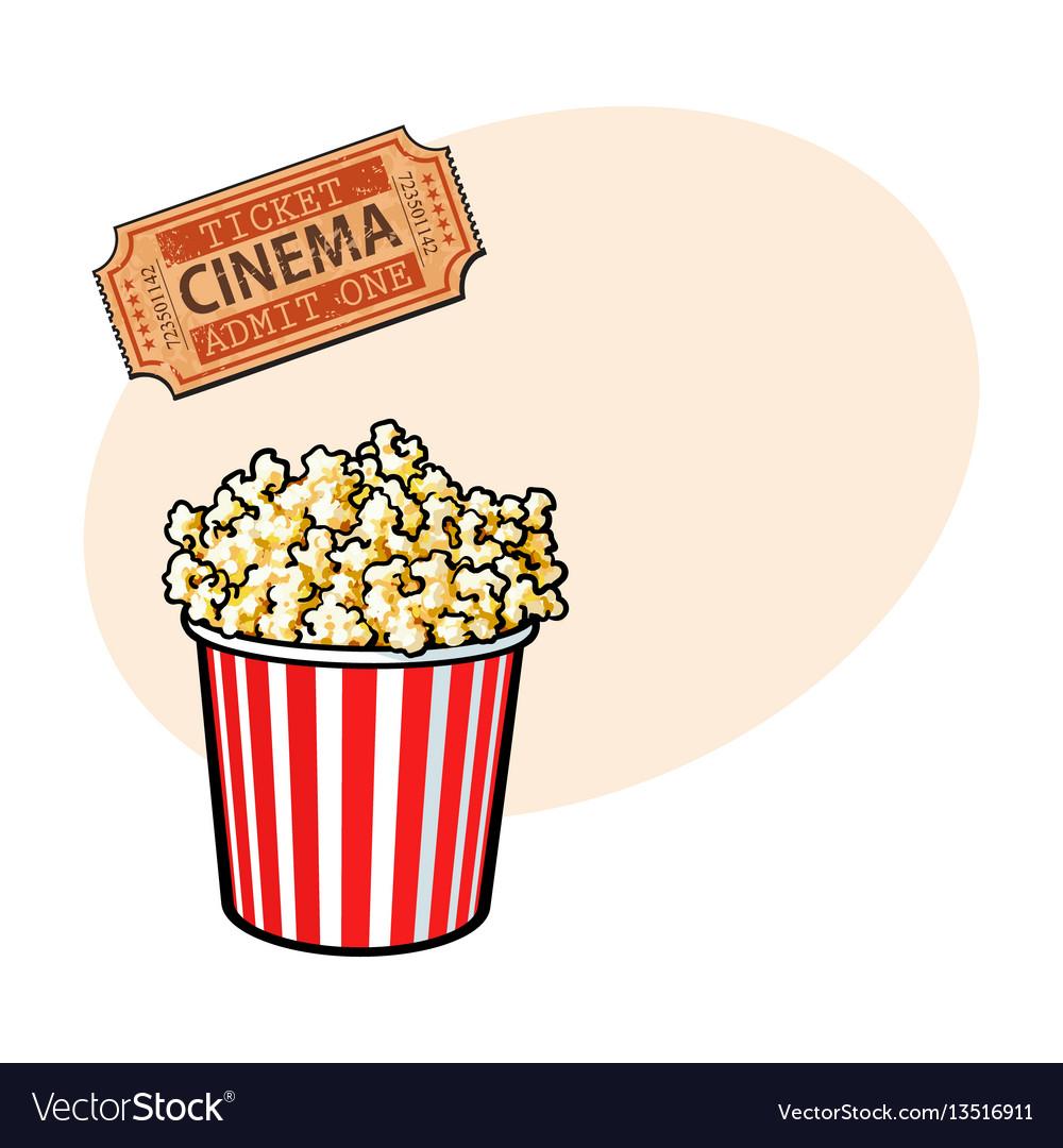 Cinema objects - popcorn bucket and retro style