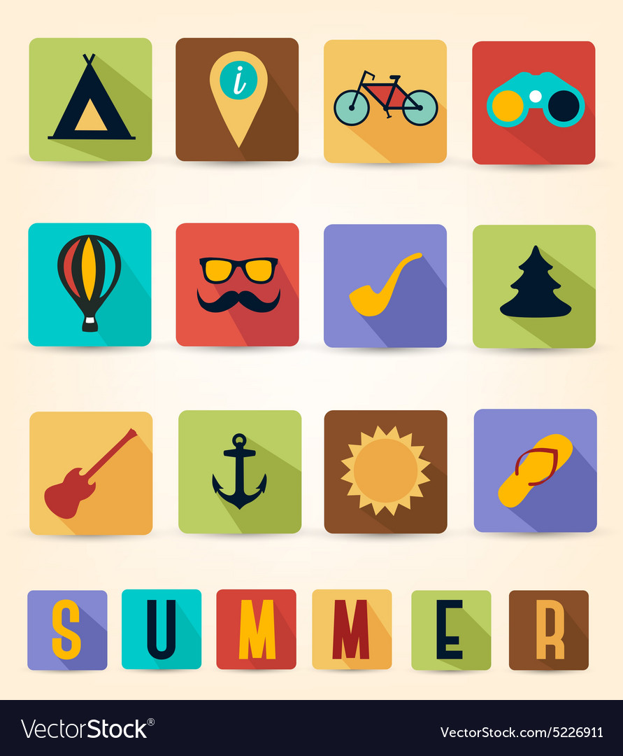 Colorful Retro Summer Icons with Long Flat Shadow