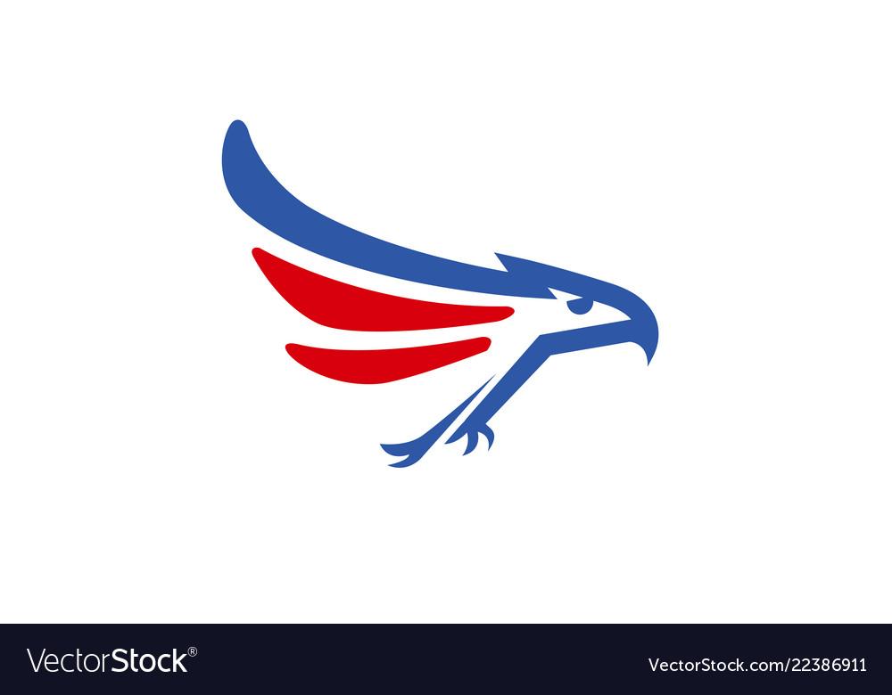 Creative blue red eagle logo