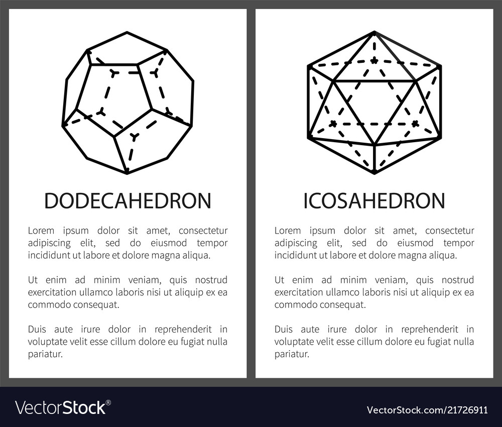 Dodecahedron Template | Dodecahedron And Icosahedron Black Templates Card Vector Image