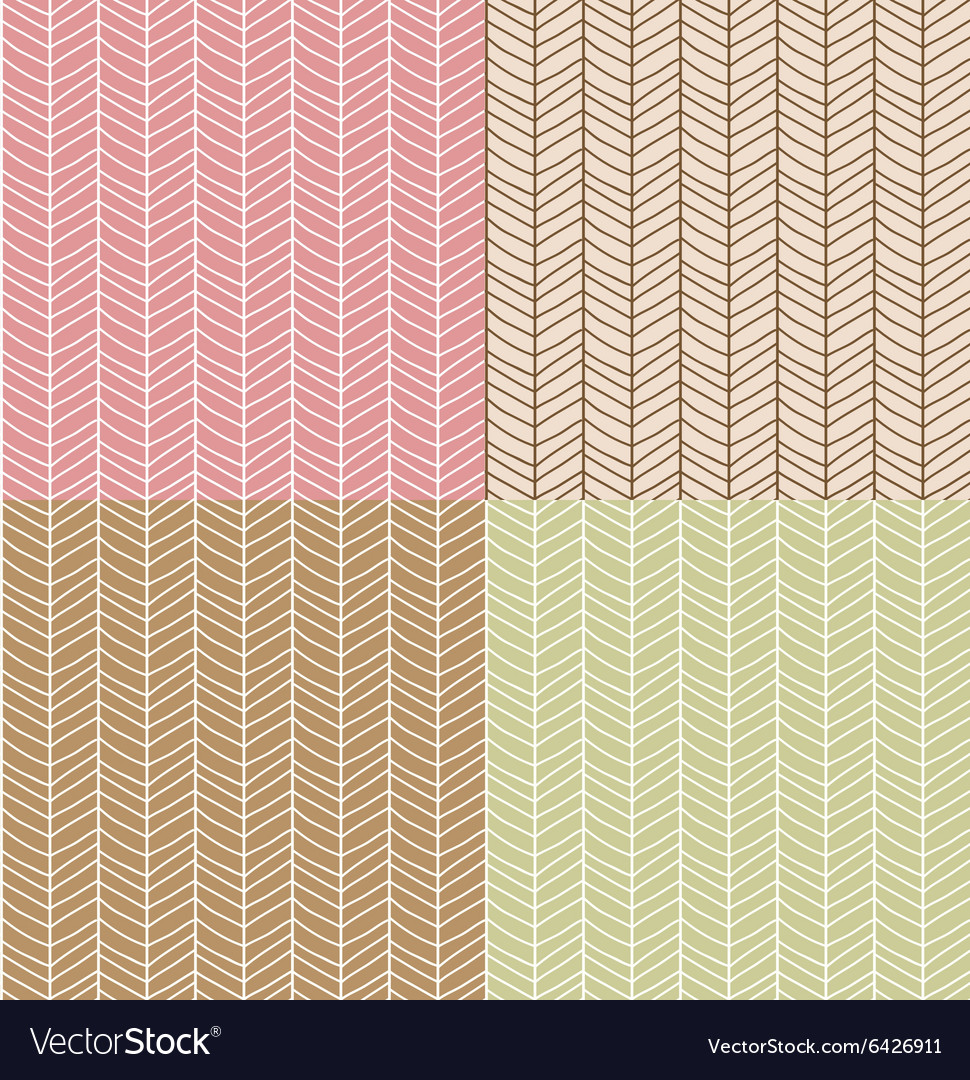 Four seamless patterns with chevron line grid vector image