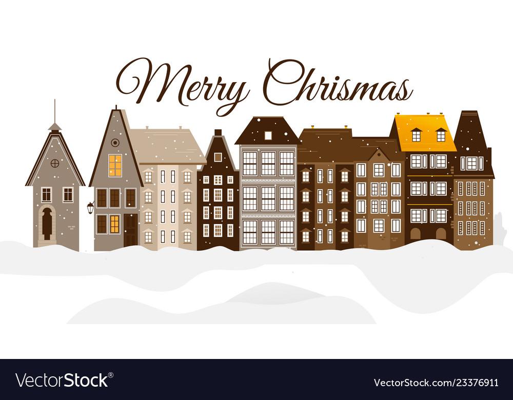 Merry christmas urban snowy city building