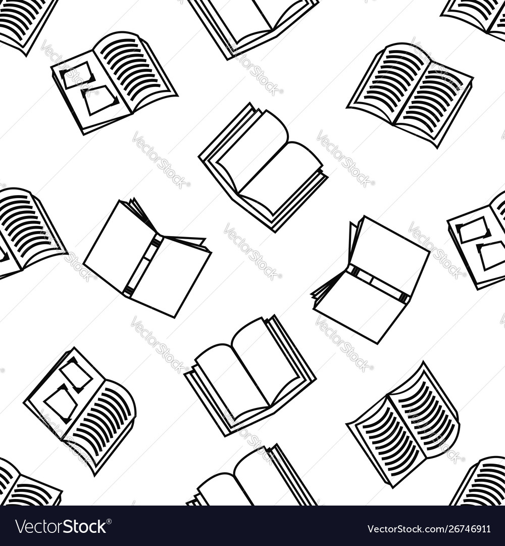 Open books with outline seamless pattern