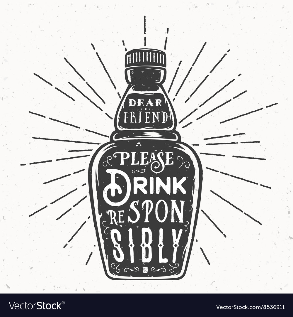 Retro Typography Bottle with Quote Drink