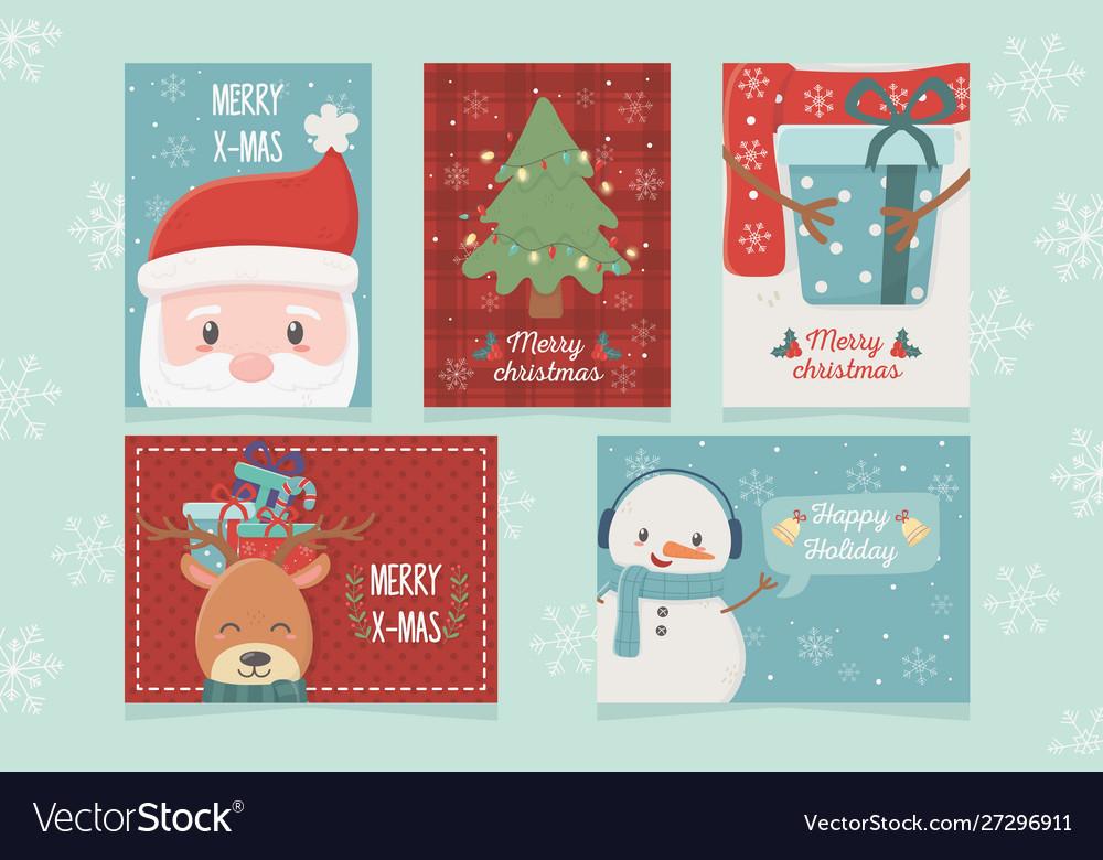 Set card celebration happy christmas