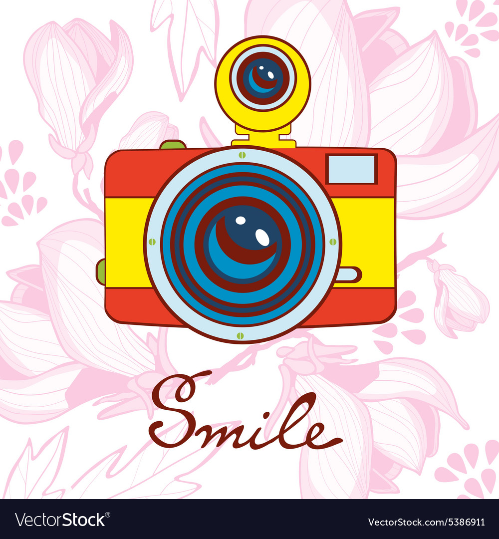 Smile concept card Elegant vintage camera on