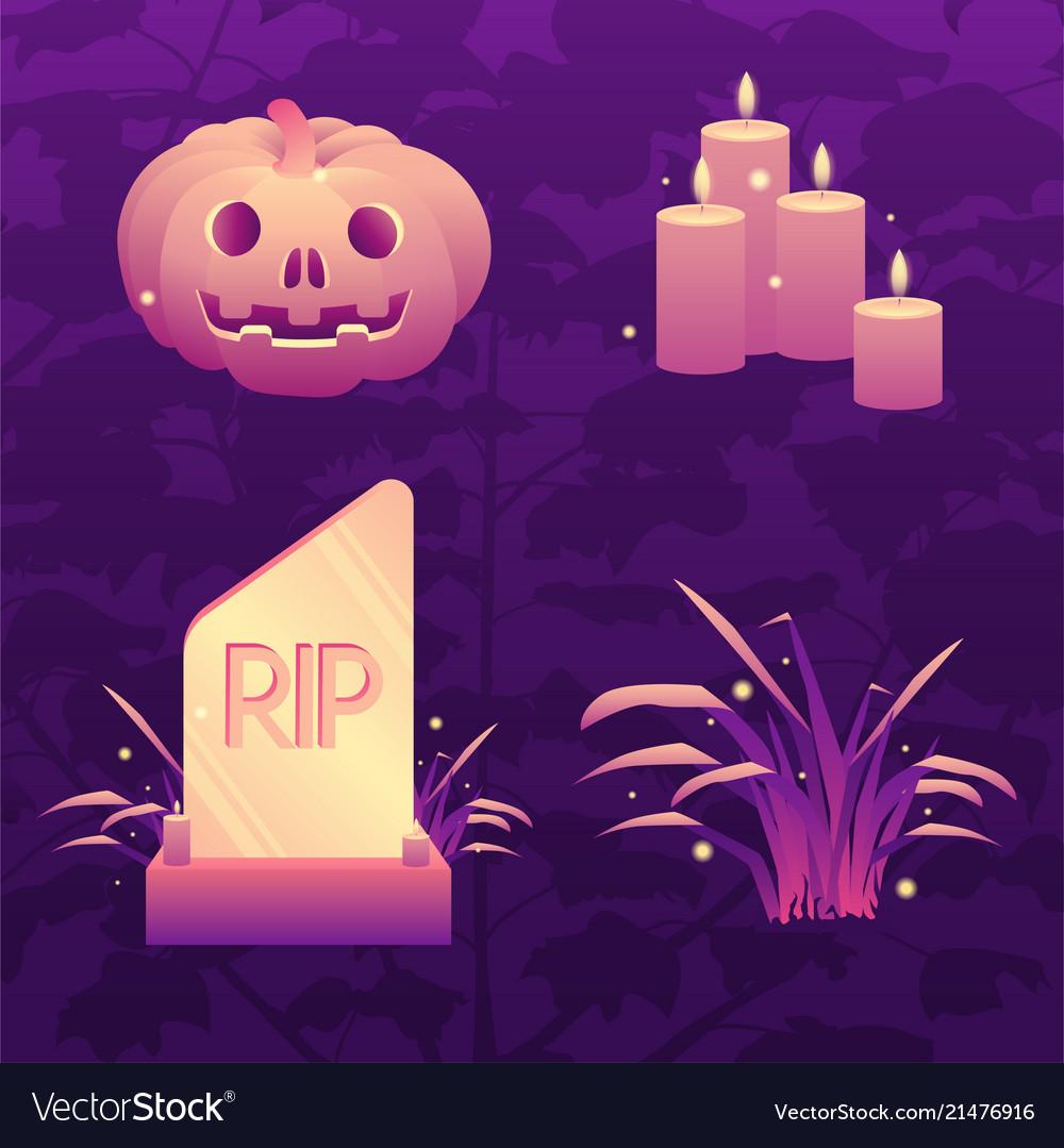 Dark violet halloween icon set