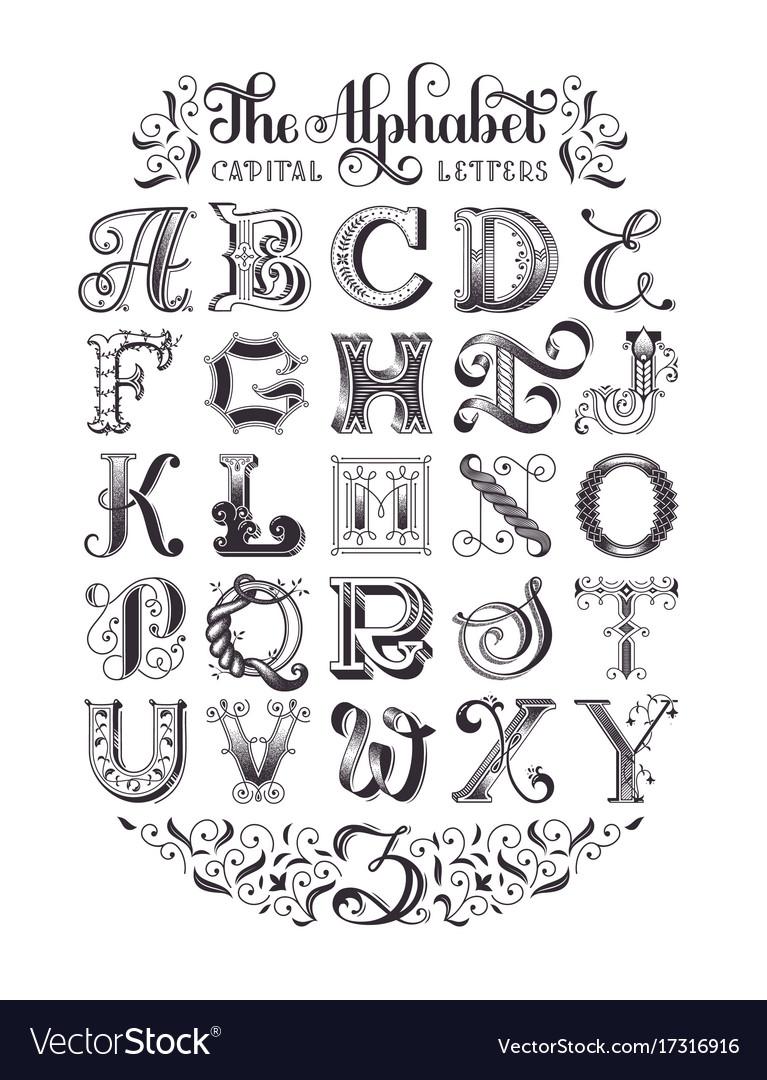 Decorative alphabet typographic poster