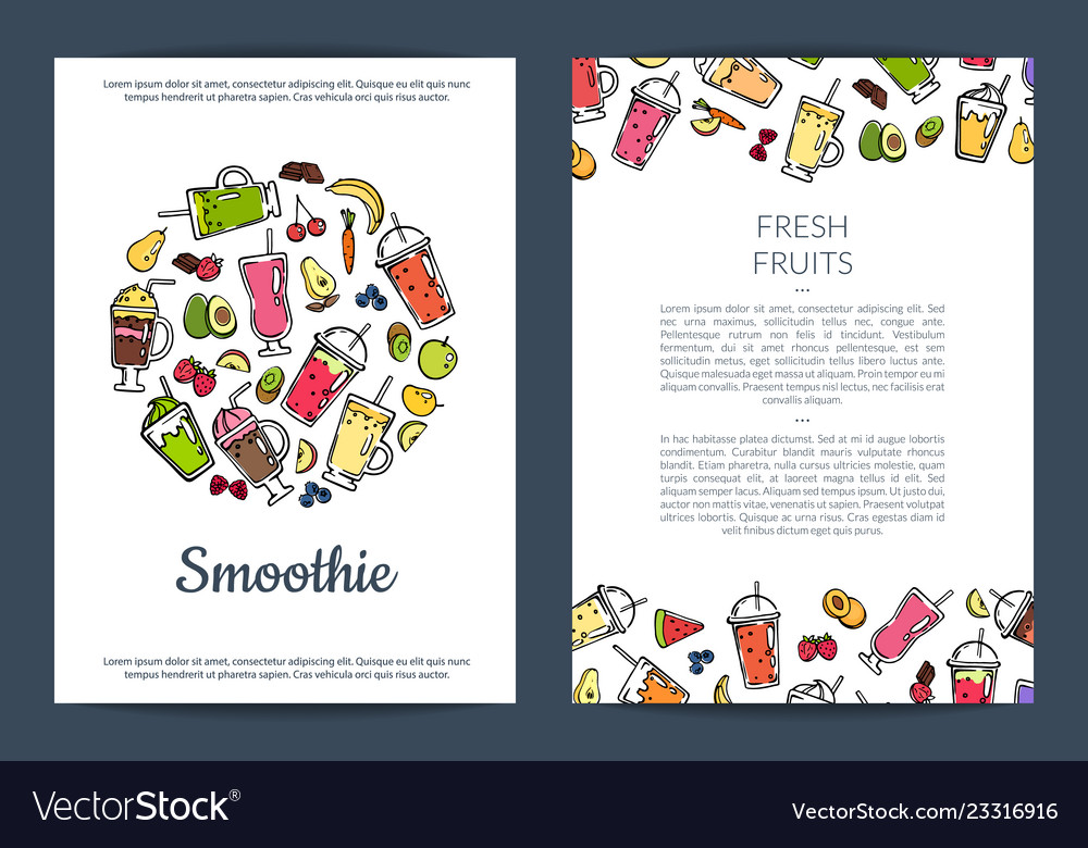 Doodle smoothie card or flyer template