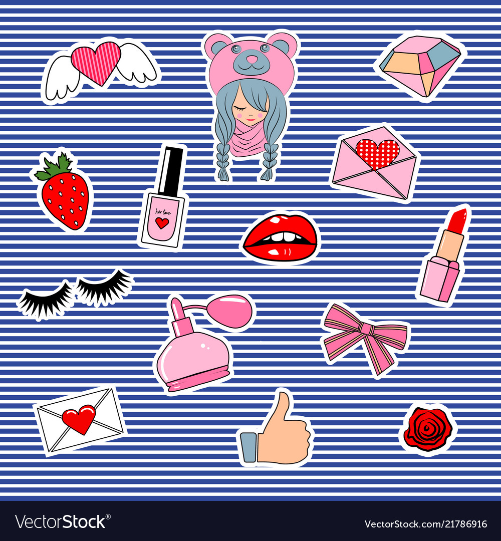Fashion patch badges with lips hearts cute girl