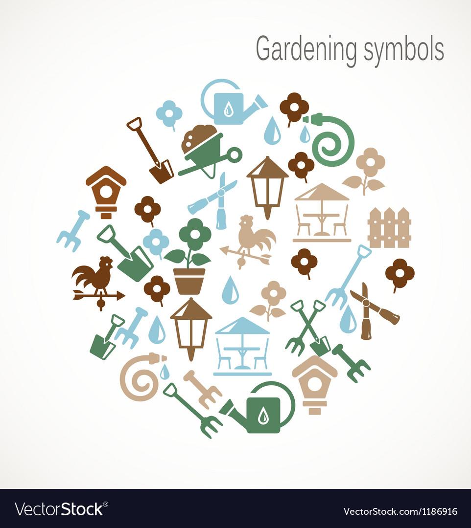 Gardening symbols vector image
