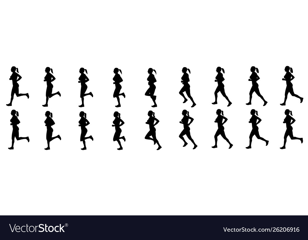 Girl run cycle animation sequence silhouette