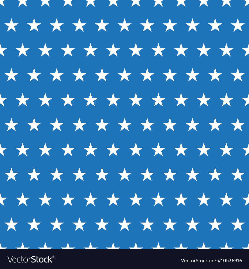 Seamless Pattern Of White Stars On Blue Background Vector Image