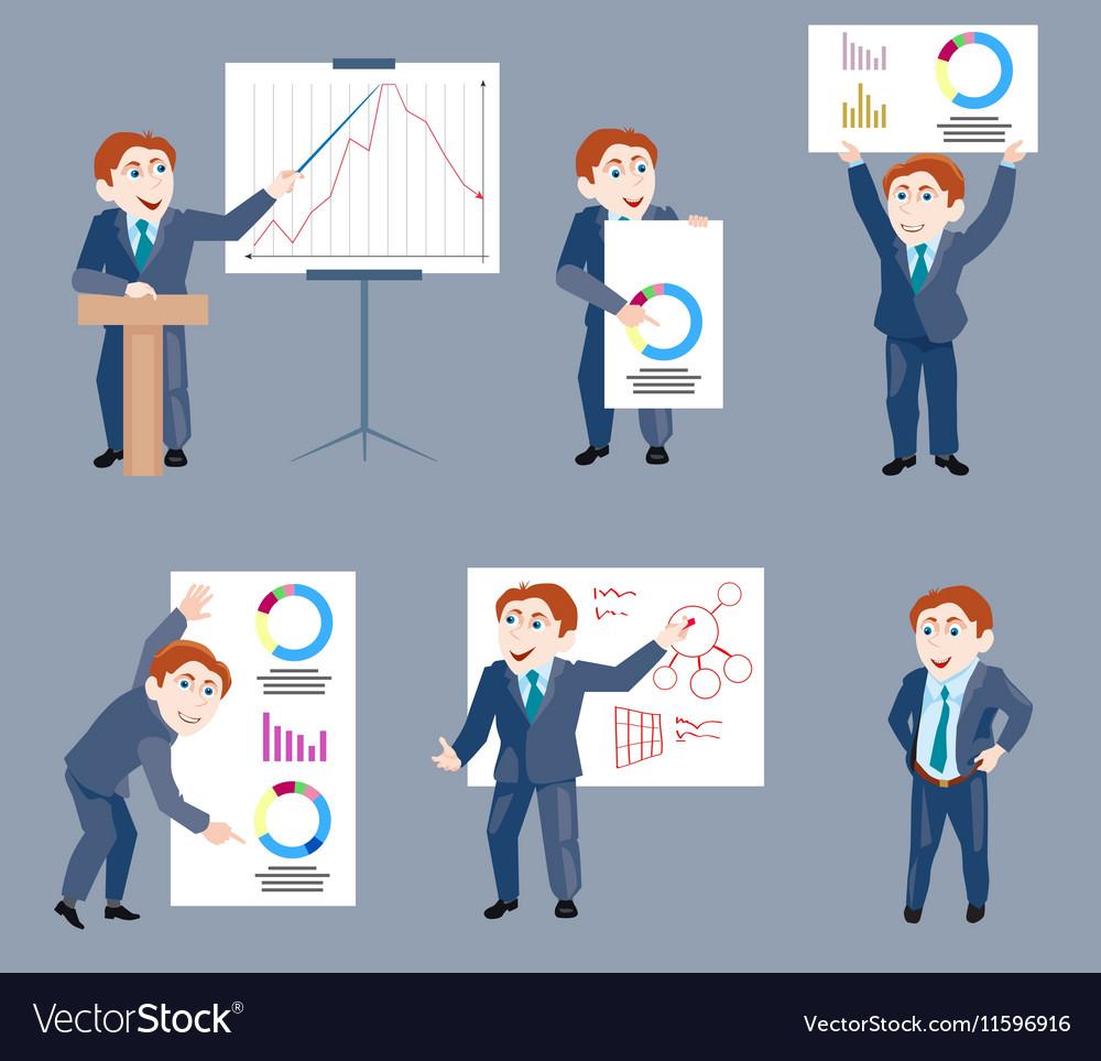 Set of businessman holds presentation