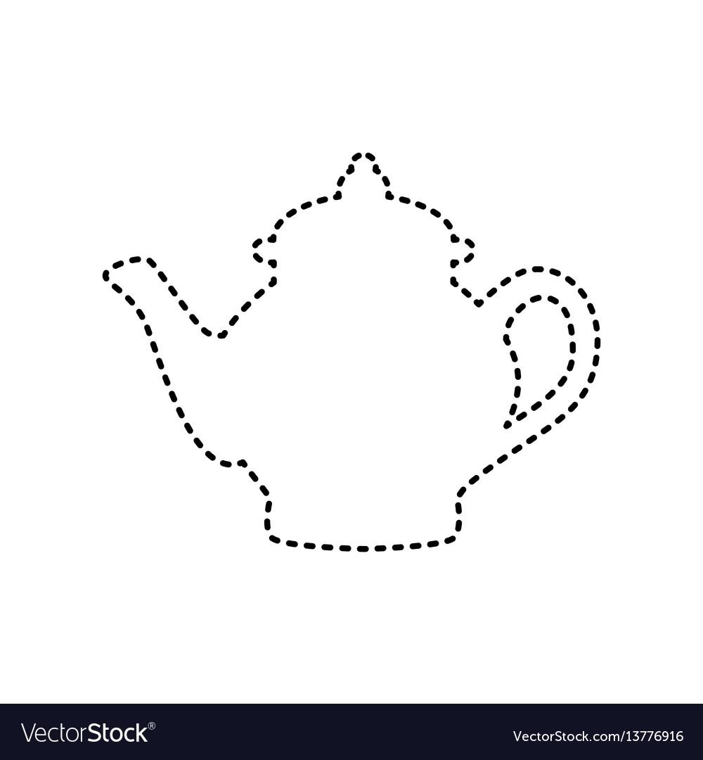 Tea maker sign black dashed icon on white