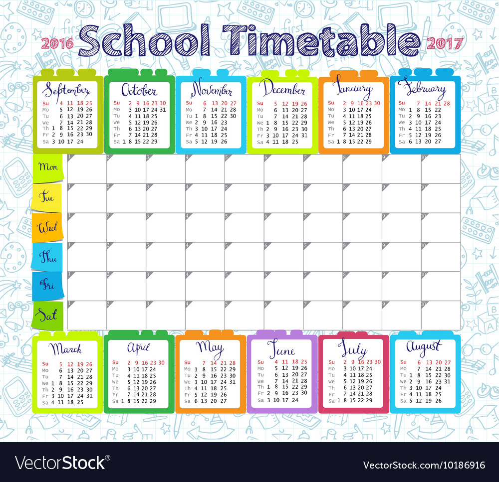 Quotes On School Time Table: Template School Timetable 2016-2017 Royalty Free Vector
