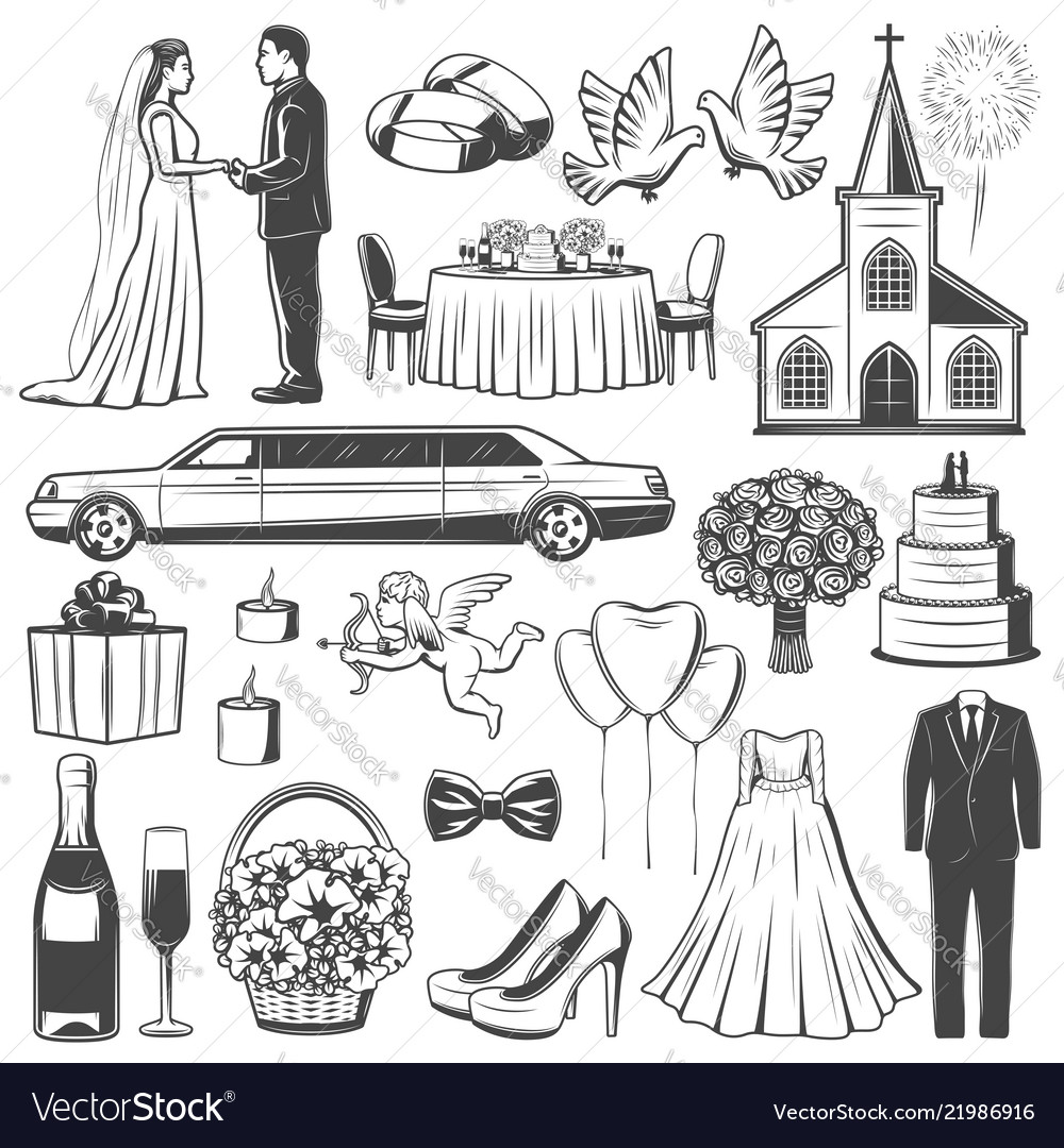 Wedding accessories and engagement icons