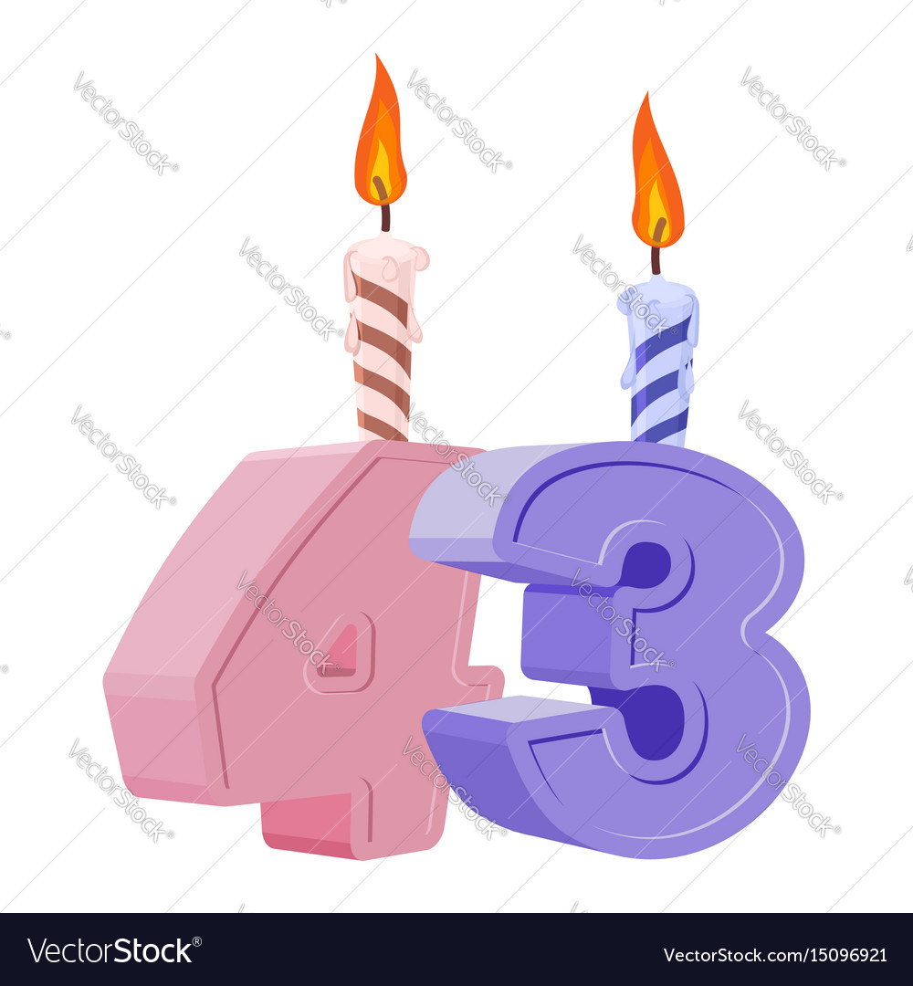 43 Years Birthday Number With Festive Candle For Vector Image